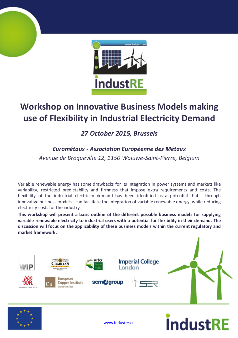 IndustRE Brussels workshop 27 Oct 2015